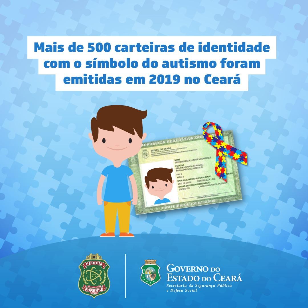 Mais de 500 carteiras de identidade com o símbolo do autismo foram emitidas no Ceará